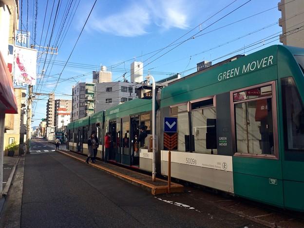 広島電鉄 天満町電停 5000形グリーンムーバー GREEN MOVER 広島市西区天満町