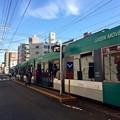 写真: 広島電鉄 天満町電停 5000形グリーンムーバー GREEN MOVER 広島市西区天満町