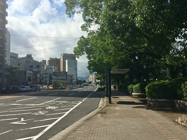 的場町 バス停 段原方向 広島市南区的場町2丁目 比治山通り 2017年7月18日