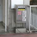 兵庫県三田市の神鉄フラワータウン駅前の白ポスト、だいたい正面。(2014年)