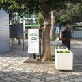 兵庫県三木市の神鉄緑が丘駅前の白ポストの右側。(2014年)