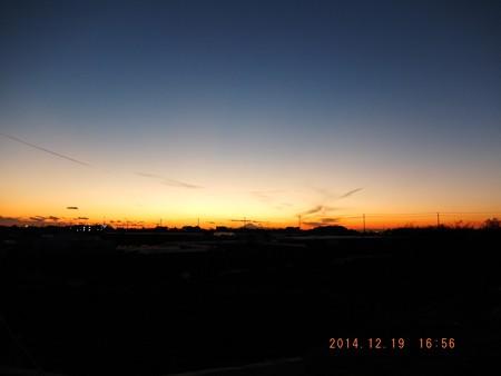 富士山 日没20141219-01