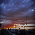 写真: 陸橋の夕焼け@久喜