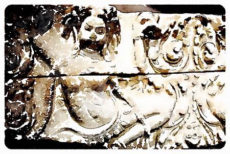 浮彫アプサラス像