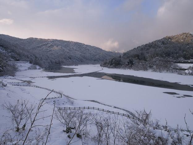 写真: 冬のダム湖畔にて(2)