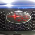 Photos: WRX STI VAB エンブレムカーボンシート加工 クリアレッド&ブラックカーボンシート