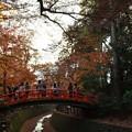 紙屋川にかかる朱色の橋