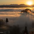 写真: 棚田と雲海と夜明け。#1