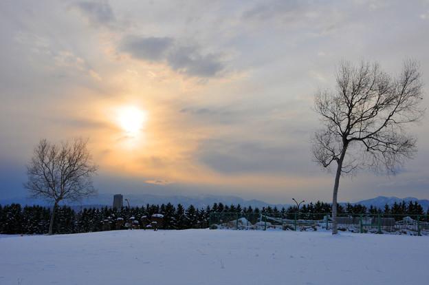 氷点下の夕景
