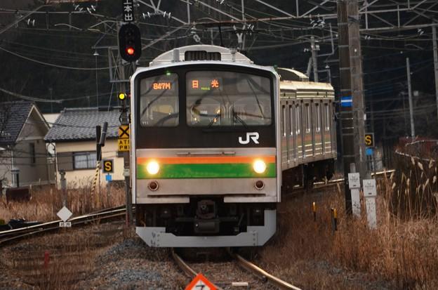 205系Y11編成847M日光行き下野大沢入線