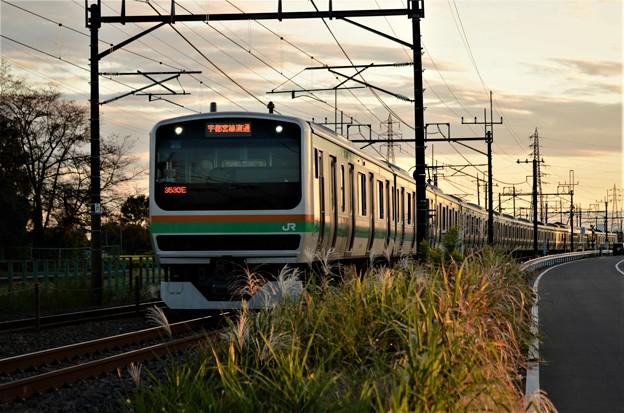 Photos: 秋夕暮れ時の宇都宮線