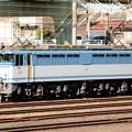 写真: EF65 2127号機(カラシ)貨物駅到着後の構内入換え