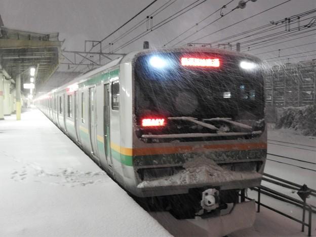 大雪警報の宇都宮線