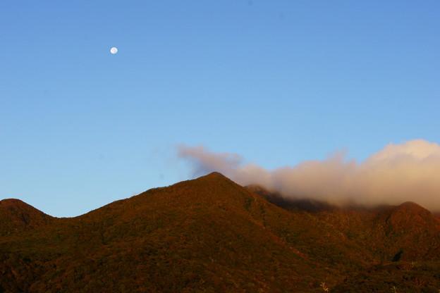 朝の月と~