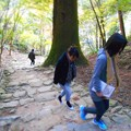 写真: 晩秋の開山堂への石段・含暉坂を登り下りする旅人たち