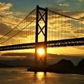 因島大橋の夕陽@しまなみ海道@布刈の瀬戸