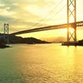 しまなみ海道の夕陽@因島大橋@布刈の瀬戸