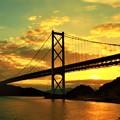 因島大橋の落日@布刈の瀬戸@しまなみ海道