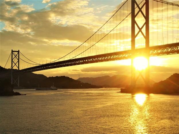 燃える夕陽@布刈の瀬戸@因島大橋@しまなみ海道