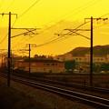 写真: 秋の日は釣瓶落とし@たそがれ列車がやって来た@JR山陽本線
