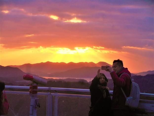 初日の出2018とその光芒@千光寺山山頂展望台