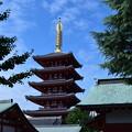 写真: 秋晴れの日の浅草寺 五重塔