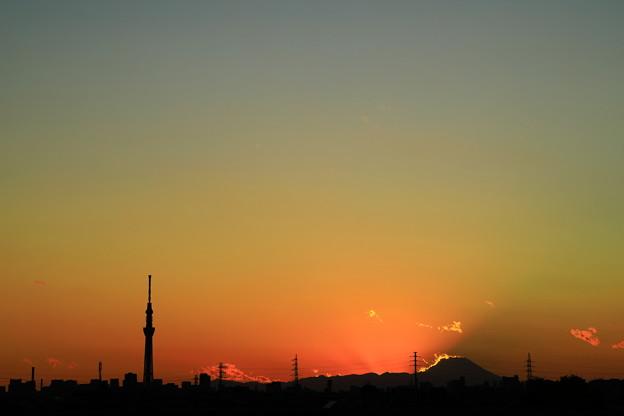 写真: スカイツリーと富士