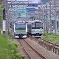 新旧の横浜線すれ違う。。これで見納めE233系と205系・・20140823