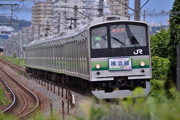カーブに入って見る横浜線205系・・20140823