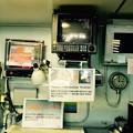 砕氷艦しらせの艦橋。。GPS位置測定機器 海図プロッタ