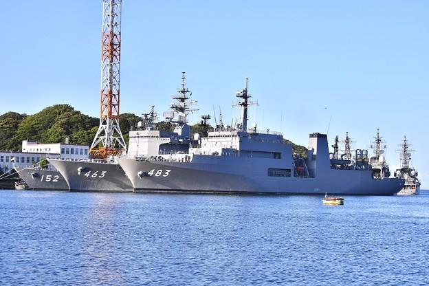 長浦港停泊中 呉の敷設艦むろと 掃海母艦うらが、護衛艦やまぎり 20170918