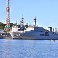 Photos: 長浦港停泊中 呉の敷設艦むろと 掃海母艦うらが、護衛艦やまぎり 20170918
