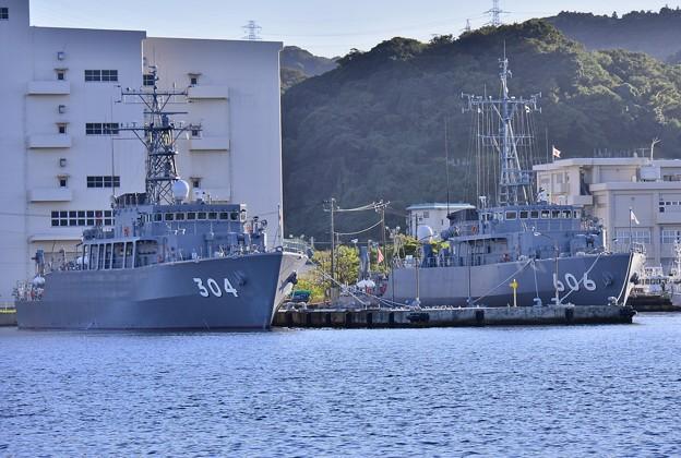 長浦港停泊中 あわじ型掃海艦と掃海艇はつしま20170918