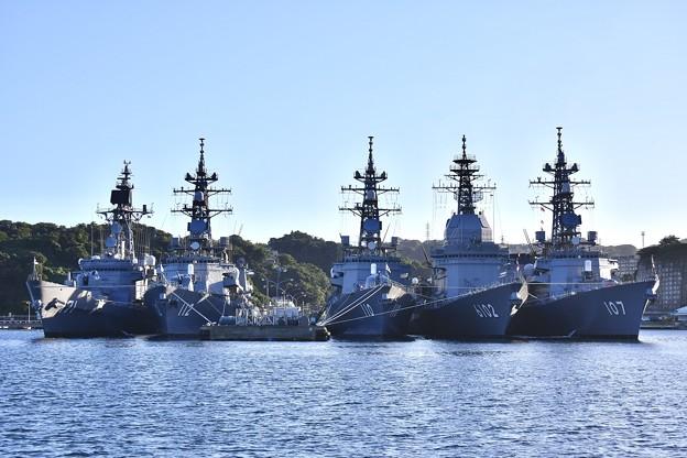 軍港めぐりから吉倉桟橋 はたかぜ、大湊のまきなみ、たかなみ、 あすか、いかづち 20170918