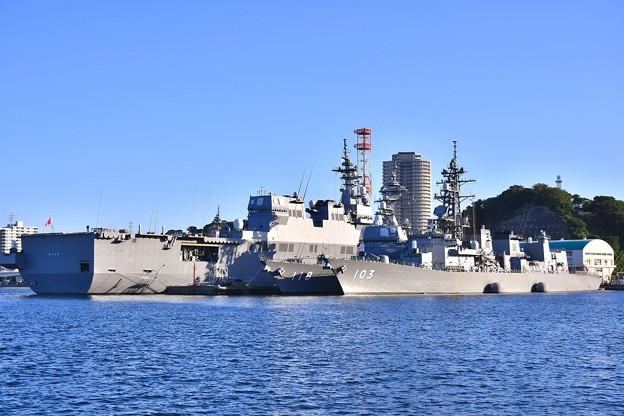 軍港めぐりから吉倉桟橋 舞鶴のひゅうが、舞鶴のふゆづき、大湊のゆうだち 20170918 20170918