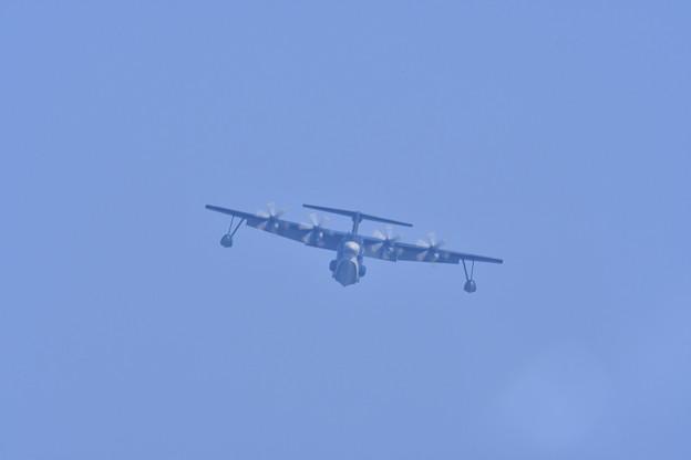 朝の逆光 岩国基地 海上自衛隊飛行艇US-2 海上での発着陸へ 20171010