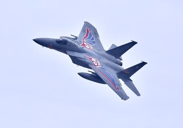 築城基地航空祭。。新田原の梅組スペマ機イーグルナイフエッジ飛行