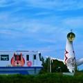 写真: 大阪モノレールと太陽の塔