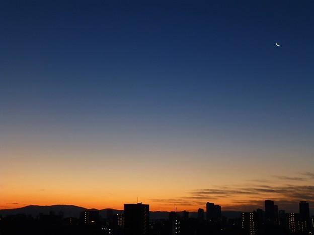 写真: 三日月と夜明け