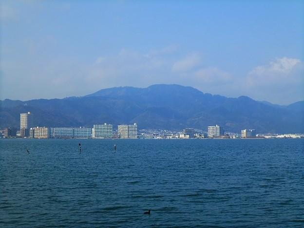 なぎさのプロムナードからの琵琶湖