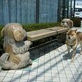 写真: ワンちゃんが支えるベンチ