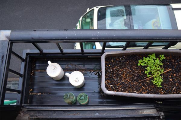真上の窓の花台からの泥水対策のお掃除