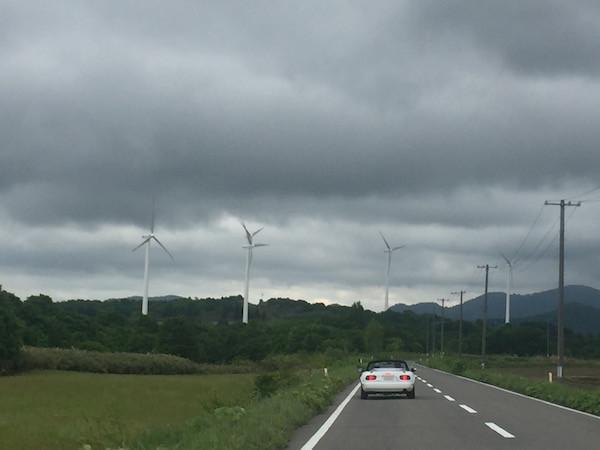 風車を眺めて