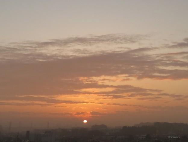 霧から朝陽